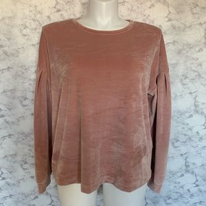 a new day Faded Pink Velvet Long Sleeve Top